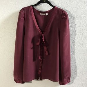 Halogen burgundy silk long sleeve blouse